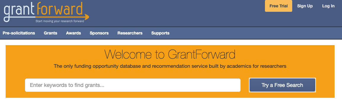 Screenshot of GrantForward home page